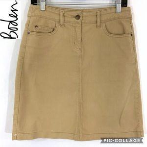 Boden khaki jean skirt size 6